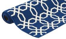 Blauw kortpolig modern vloerkleed
