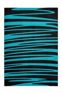 Antraciet turquoise vloerkleed